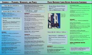 Schedule of Plenaries, Workshops, & Panels